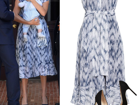 Meghan Markle's navy and white print dress and navy pumps