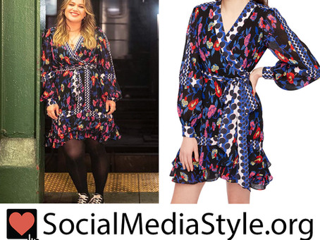 Kelly Clarkson's polka dot and floral print dress from The Kelly Clarkson Show