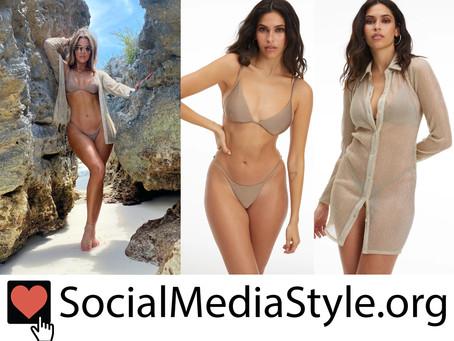 Khloe Kardashian's Good American metallic gold coverup and brown bikini