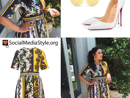 Mindy Kaling's patchwork dress, disc earrings, and white pumps