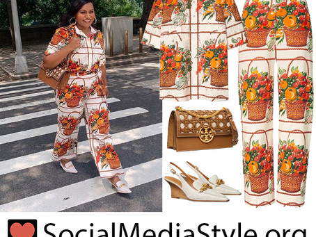 Mindy Kaling's Tory Burch fruit basket print outfit, brown basket weave bag, and white slingbacks