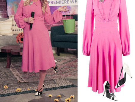 Kelly Clarkson's pink collar dress from The Kelly Clarkson Show