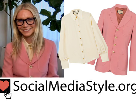 Gwyneth Paltrow's beige blouse and pink blazer from The Kelly Clarkson Show