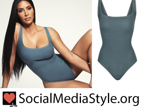 Kim Kardashian's Skims blue grey bodysuit