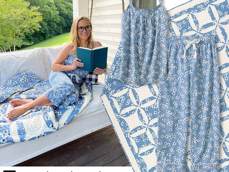 Reese Witherspoon's blue floral print pajamas and quilt