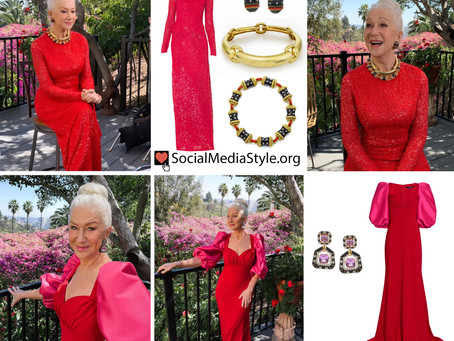 Helen Mirren's red gowns and black enamel jewelry from the 2021 SAG Awards