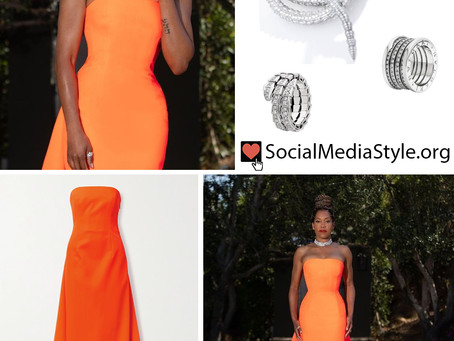 Regina King's orange strapless train gown and jewelry from the 2021 Costume Designers Guild Awards