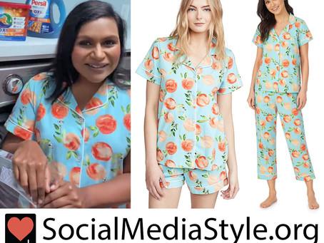 Mindy Kaling's peach print pajamas