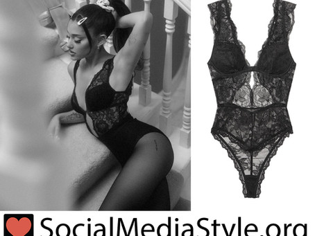 Ariana Grande's black lace bodysuit from the 34+35 remix video
