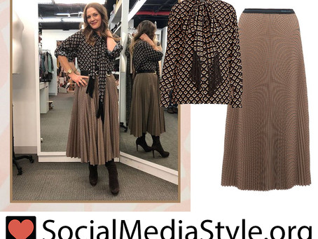 Drew Barrymore's fringe necktie top and brown pleated skirt from The Drew Barrymore Show