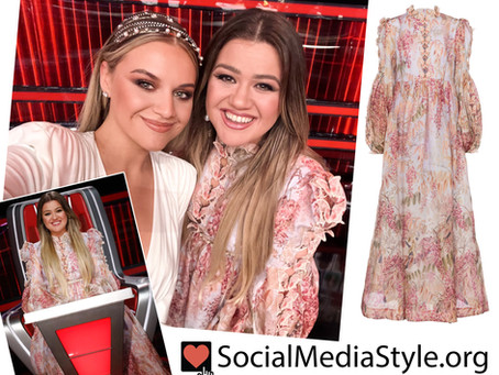 Kelly Clarkson's butterfly trimmed pink floral print dress from The Voice