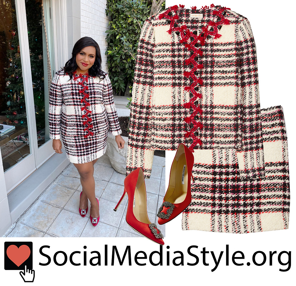 Mindy Kaling S Plaid Tweed Jacket And Skirt And Jewel Buckle Red Pumps