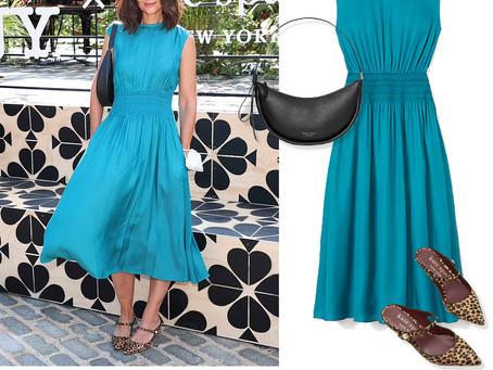 Katie Holmes' Kate Spade blue dress, black purse, and leopard print shoes