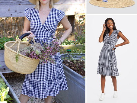 Reese Witherspoon's Draper James straw hat and gingham dress