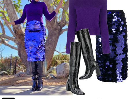 Mandy Moore's purple turtleneck, sequin skirt, and black boots from The Kelly Clarkson Show