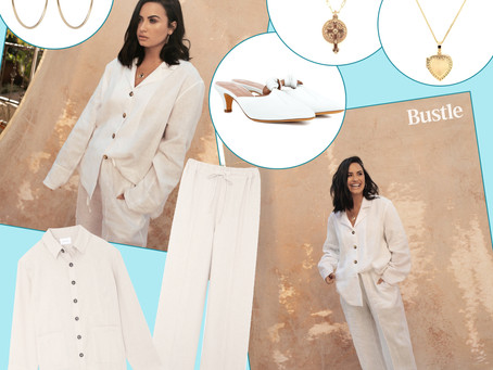 Demi Lovato's white line pajamas,  jewelry, and mules from Bustle