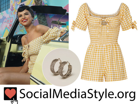 Selena Gomez's crystal hoop earrings and yellow gingham romper from the Ice Cream video