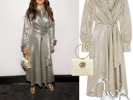 Salma Hayek's metallic dress and accessories from the 2020 National Board Of Review Gala