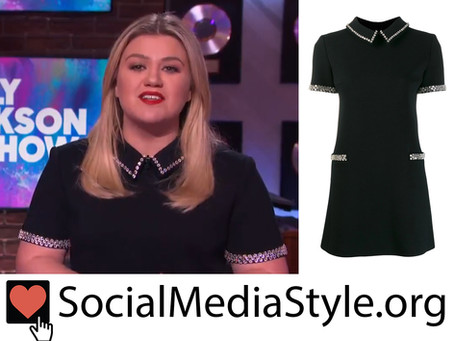 Kelly Clarkson's embellished black collar dress from The Kelly Clarkson Show