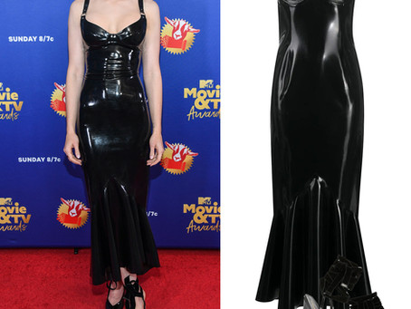 Lily Collins' black latex dress and lace up pumps 2020 MTV Movie & TV Awards