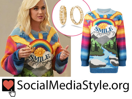 Katy Perry's gold bamboo hoop earrings and smile rainbow sweater from American Idol