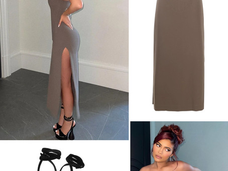 Kylie Jenner's strapless grey dress and black sandals