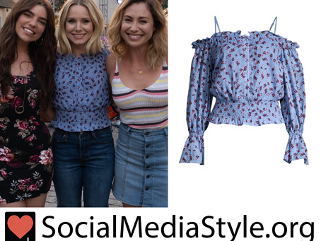 Eleanor (Kristen Bell)'s cold shoulder floral print top from The Good Place