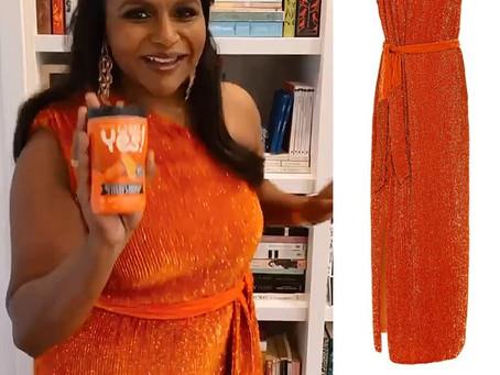 Mindy Kaling's orange sequin one shoulder dress