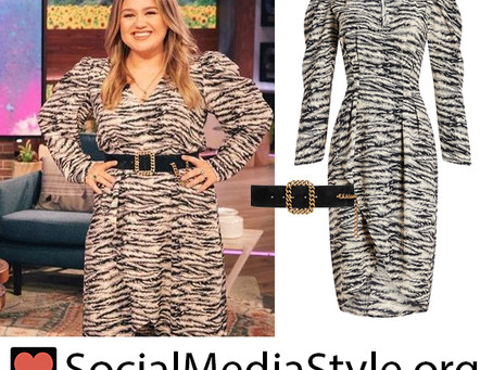 Kelly Clarkson's zebra print dress and chain detail belt from The Kelly Clarkson Show