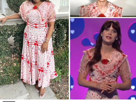 Mindy Kaling, Brie Larson, and Zooey Deschanel's heart print dress