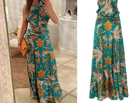 Sofia Vergara's green floral print halter dress