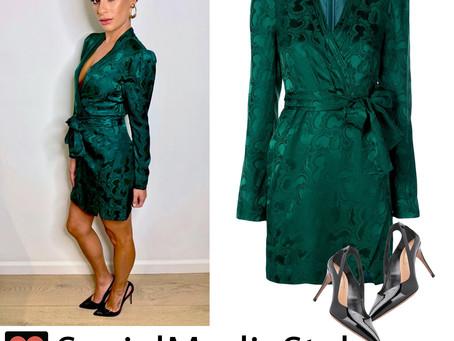 Lea Michele's green dress and black cutout pumps