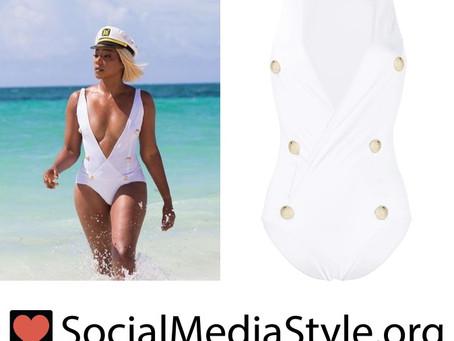 Tiffany Haddish's white nautical swimsuit