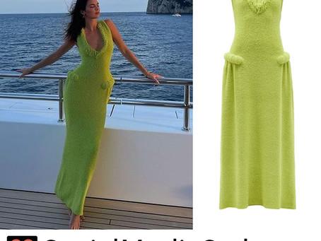 Kendall Jenner's fringe detail green dress
