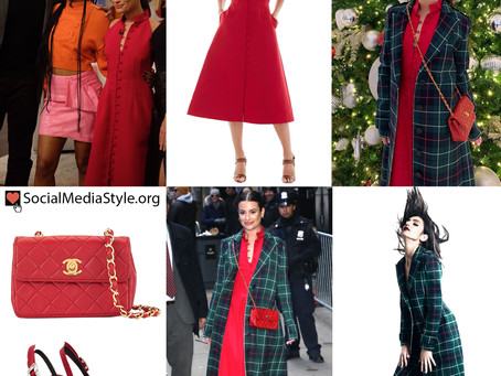 Lea Michele's plaid coat and red dress, shoes, and bag from Good Morning America