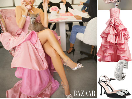 Kylie Jenner's pink gown and accessories from Harper's Bazaar