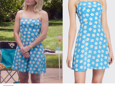 Eleanor (Kristen Bell)'s blue floral print dress from The Good Place