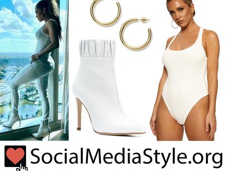 Jennifer Lopez's gold hoop earrings, white bodysuit, and white boots