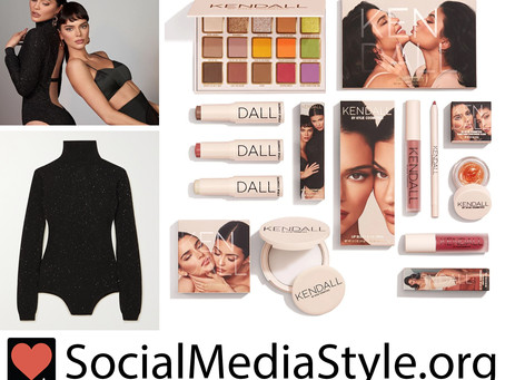 Kylie Jenner's black sequin open back bodysuit and Kendall x Kylie Cosmetics Collection makeup