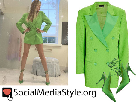 Heidi Klum's green blazer dress and lace up pumps