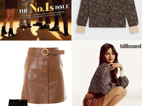 Selena Gomez's floral print top, brown leather skirt, and black boots from Billboard Magazine