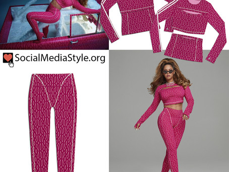 Beyonce's adidas x Ivy Park pink print top and leggings