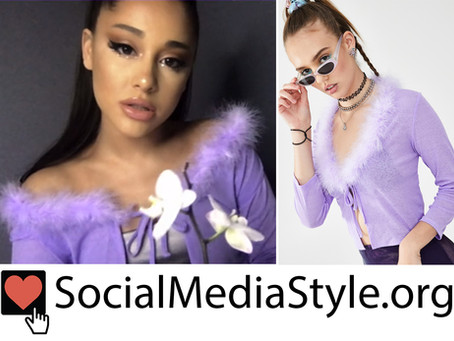 Ariana Grande's purple feather trim cardigan from The Disney Family Singalong