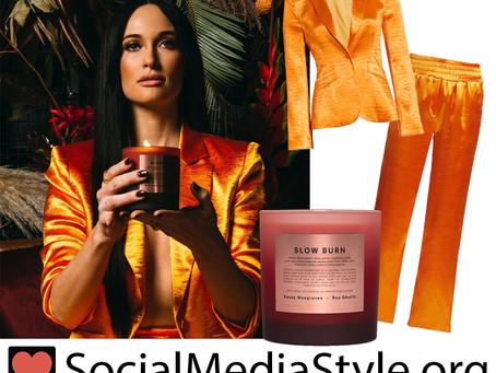 Kacey Musgraves' orange satin blazer and pants