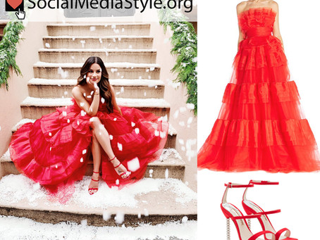 Lea Michele's red gown and sandals from her Christmas album announcement