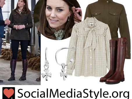 Kate Middleton's green jacket, plaid neck tie blouse, shamrock earrings, and boots