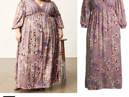 Chrissy Metz's crochet trim floral print dress