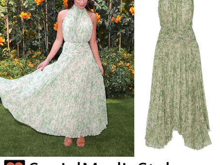 Lea Michele's leaf print halter dress from the 10th Annual Veuve Clicquot Polo Classic