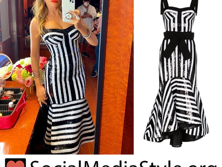 Sofia Vergara's black and white sequin striped dress from America's Got Talent