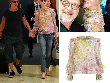 Nicole Kidman's ruffled floral print blouse
